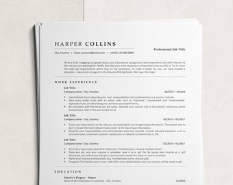 ATS Resume Template, Instant Download ATS-optimized CV Design with Cover Letter and References, Minimalist Resume Template for Word