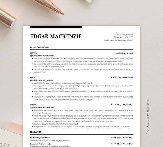Executive Resume Ats Friendly Resume Instant Download Etsy