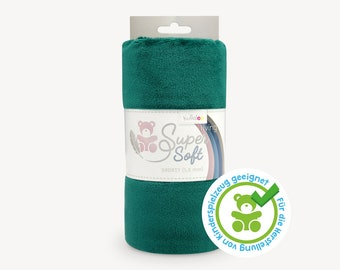 SuperSoft SHORTY (1.5 mm pile) – Ultra soft plush / cuddle fabric 100x75 cm (40x30″), dark emerald, suitable for making toys