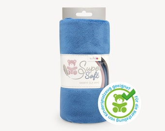SuperSoft SHORTY (1.5 mm pile) – Ultra soft plush / cuddle fabric 100x75 cm (40x30″), dusk blue, suitable for making toys