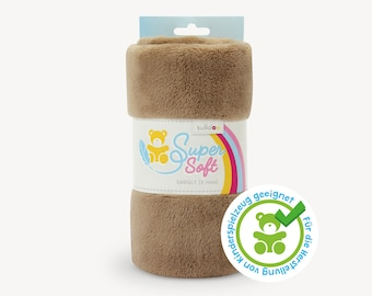 SuperSoft SNUGLY (5 mm pile) – Ultra soft plush / cuddle fabric 100x75 cm (40x30″), brown / taupe, suitable for making toys