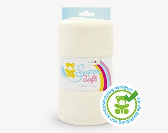 SuperSoft SNUGLY (5 mm pile) – Ultra soft plush / cuddle fabric 100x75 cm (40x30″), ivory, suitable for making toys