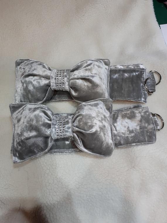 Silver Diamante bow tie backs
