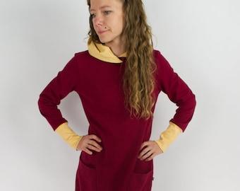 Sweater dress, dark red/yellow
