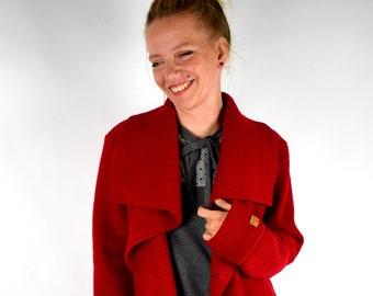Wool coat Camy_03 woolwalk dark red scarf collar
