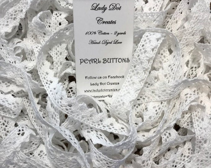 Cotton Lace Trim (Pearl Buttons) by Lady Dot Creates