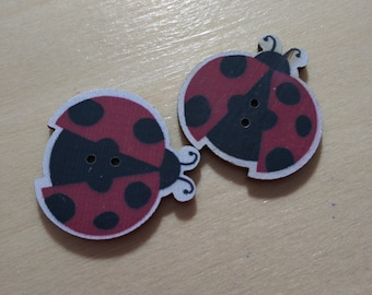 Large Ladybug Wood Buttons (#22) - Pack of 2