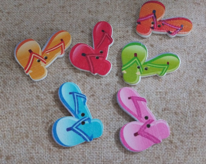 Flip-Flops Wood Buttons - Pack of 2 (#3-8)