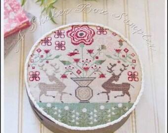 Chocolate Harts by Plum Street Samplers cross stitch chart design primitive quote sampler love deer doe heart floral flowers vase garden