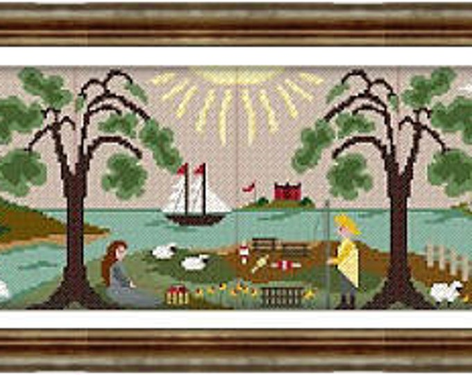 Harbor Haven Scenes 1-12 (complete set) by By the Bay Needleart cross stitch chart design primitive sampler ocean nautical harbor coastal