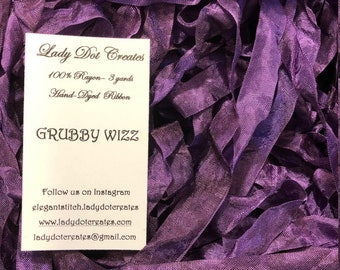 """9/16"""" Ribbon (Grubby Wizz) by Lady Dot Creates hand-dyed 3 continuous yards"""