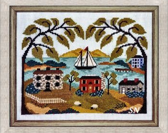 Mountain View Bay by By the Bay Needleart cross stitch chart design primitive sampler ocean nautical sailing town coastal island