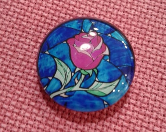 Stained Glass Rose Beauty & The Beast Needle Minder (0212)