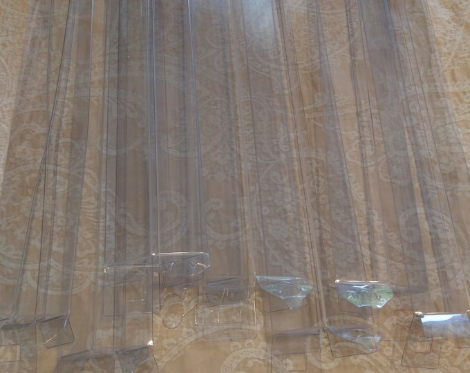 "Pack of 8 clear rectangular plastic craft storage boxes 15"" x 1 1/2"" x 1 1/2"""