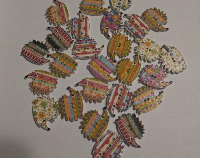 Porcupine/Hedgehog Wood Buttons - Pack of 4 (#16)