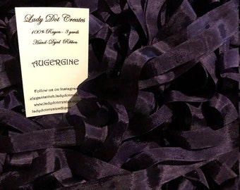 """Ribbon (Aubergine) by Lady Dot Creates hand-dyed 3 continuous yards 9/16"""" 100% rayon ribbons bow trim very dark purple eggplant plum"""