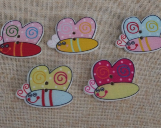 Small Butterfly Wood Buttons - Pack of 2 (#17-21)