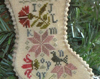 Sampler Stocking Ornament #2 by Abby Rose Designs