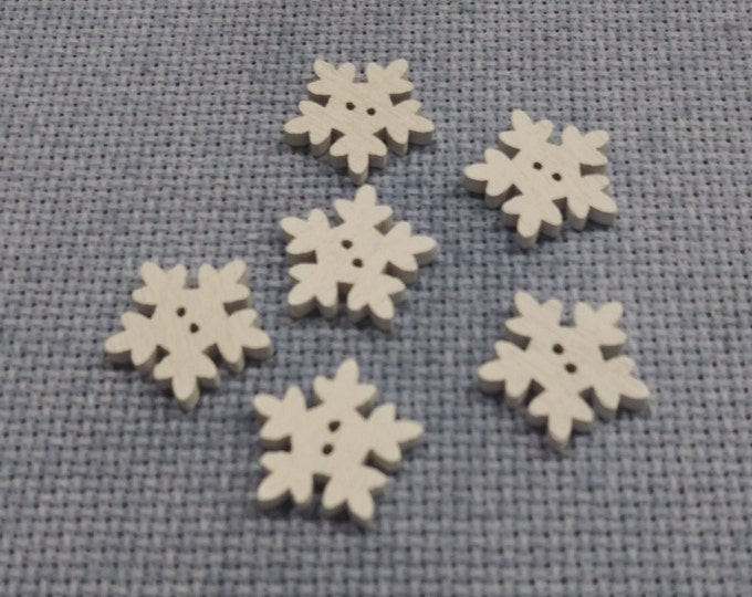 Snowflake Wood Buttons - Pack of 6 (#02)