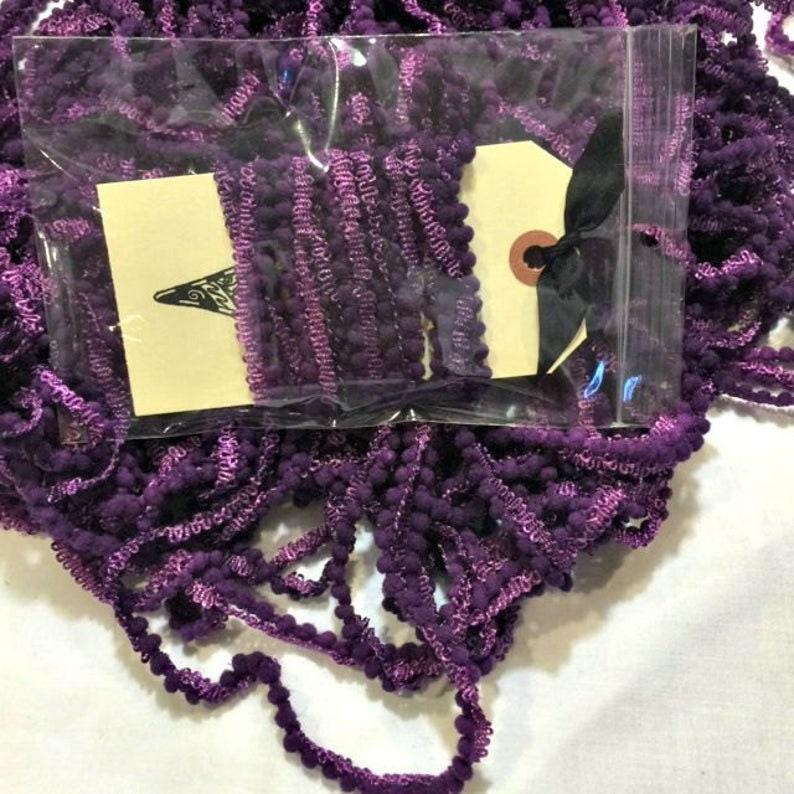 Mini Pom Pom Trim Wizard by Lady Dot Creates hand-dyed 2 continuous yards dark purple grape