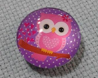 Pink Owl w/ Purple Polka Dots Needle Minder (0097)