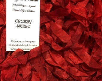 """9/16"""" Ribbon (Grubby Sizzle) by Lady Dot Creates hand-dyed 3 continuous yards"""