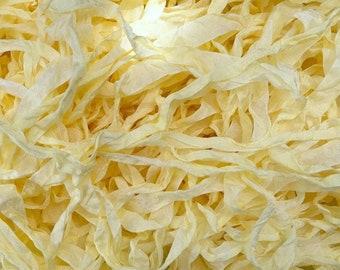 "Ribbon (Lemon Chiffon) by Lady Dot Creates hand-dyed 3 continuous yards 9/16"" 100% rayon ribbons bow trim pale pastel yellow"