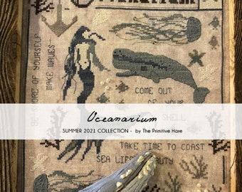 Oceanarium by The Primitive Hare cross stitch chart design primitive whale fantasy magic mythical seashell ocean sea mermaid nautical