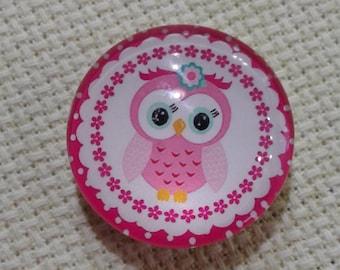 Pink & White Owl Needle Minder (0100)