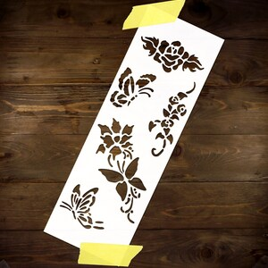 Rose Flowers Butterfly Stencil MYLAR A4 sheet strong reusable Art Craft WallDeco