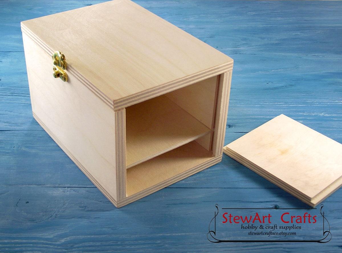 wooden secret box, unfinished wooden secret compartment box, unpainted  puzzle box, wooden trinket box for keeping secrets, storage box