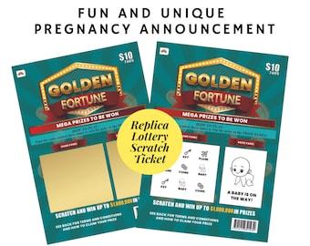 Pregnancy Announcement Scratch Card, Replica Lottery Instant Scratch Ticket, Unique reveal, Grandparents, Baby News, Lotto ticket, Scratchie