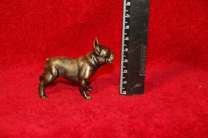 2x2.8 inches 5x7cm Vintage new cast bronze brass French Bulldog figurine miniature sculpture statuette exclusive handmade handcrafted