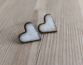 Ceramic stud earrings heart/ handmade jewelry / stainless steel plug / gift idea for girlfriend/ Mother's Day gift / Valentine's Day gift