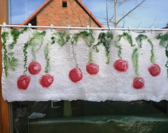 """felted curtain """"cherries"""" wool, hand felted opaque disc curtain, small curtain"""