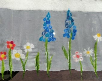 """cheerful curtain hand felted blue bellflowers, """"spring meadow"""", felted, fine silk wool, wafer-thin window decoration"""