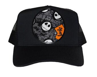 492b214c5b899 Nightmare Before Christmas Custom Trucker Hats with Circle Shape  Disney x  Jack Skellington  Disney  Halloween  Tim Burton
