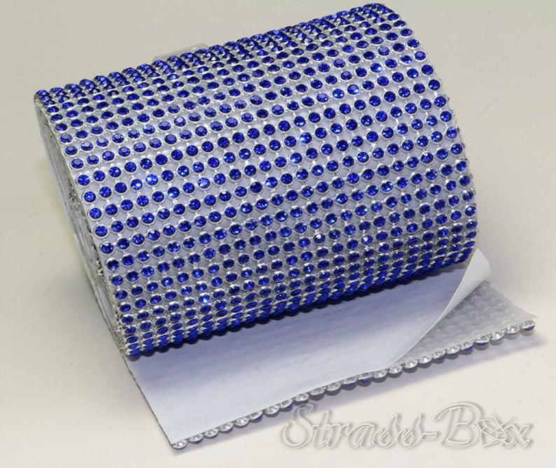 Mesh Blue 24reihig 78 mm Strassband SS8 Self-adhesive