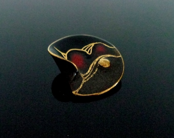 Beautiful Handmade & Germany signed vintage wave Design ceramic artisian Dress Clip Black dark red enameled surface in excellent condition