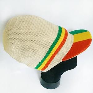 Green Yellow Red Stripe Dreadlocks Tam Crochet Rasta Beanie Black Stretch Rasta Hat with a visor Reggae Tam Rastafari Hat