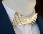 Papino Silver Gold Brass Metal Diamond Texture Bow tie prom wedding party fashion accessory Gift for Men for Him for Her