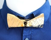 Papino Gold Silver Brass Metal V Shape Texture Bow tie prom wedding party fashion accessory Gift for Men for Him for Her