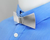 Papino Silver Metal Plain Texture Bow tie wedding party fashion accessory Gift