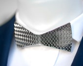 Silver Metal Bow Tie Textured Bow Tie Prom Collar Wedding Party Fashion Accessory Gift by PAPINO