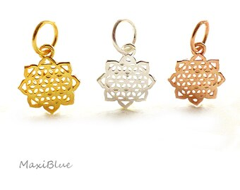 925/Si.vg. Lifeflower lotus anh.13 mm,life flower charm silver,Lotus charm rosegold,small lotus pendant gold,diy silver jewelry