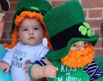 hand crocheted baby St. Patrick s Day photo prop hat size newborn to  toddler customers available d1a7be13a6f