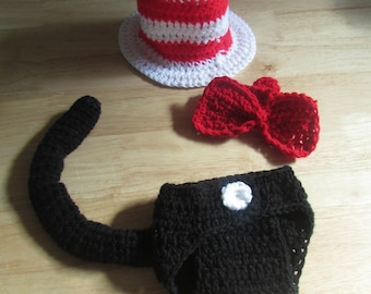 b191bbae5bc Hand Crochet Baby Cat in the Hat Dr. Seuss Photo prop costume set top hat