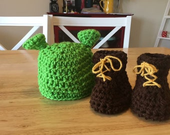 2bd40c93432 Crochet baby Shrek ogre photo prop beanie hat and boots at newborn to 12  months custom orders available