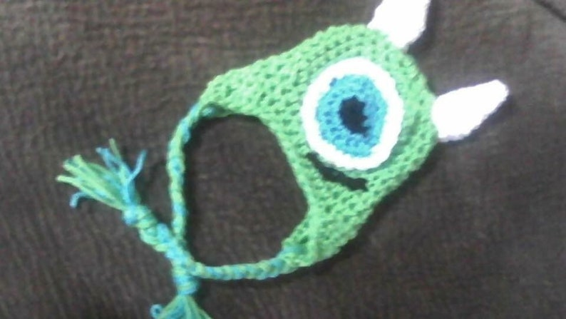 cf1a2a94888 Hand crochet monsters Inc. Mike or Sully beanie hat photo prop