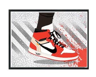 8012aaf230fd Custom Off White Jordan 1 Sneaker Art Poster